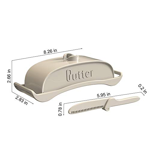 AXSCOK Plastic Butter Dish With Lid And Knife Measurements No Mess Smart Covered Butter Keeper With Handle Spreader For Countertop Ivory White 0 3