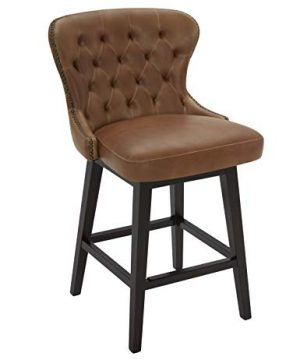 Amazon Brand Stone Beam Morgan Faux Leather Memory Swivel Counter Height Barstool 382H Brown 0 300x360