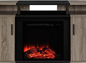Ameriwood Home Carson Electric Fireplace TV Console For TVs Up To 70 Weathered Oak 0 300x221
