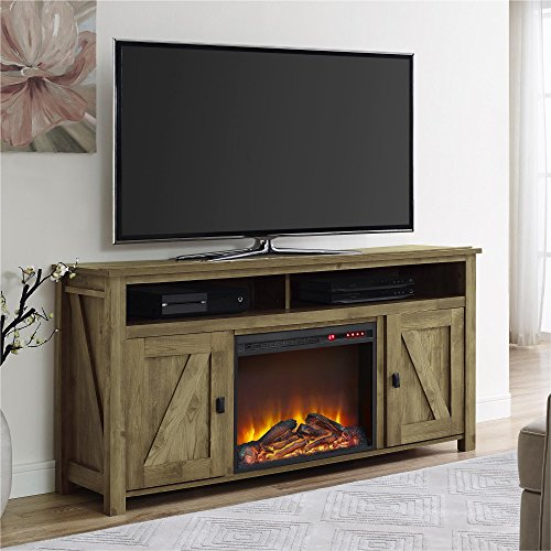 Ameriwood Home Farmington Electric Fireplace TV Console For TVs Up To 60 Natural 0 1