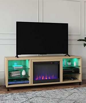 Ameriwood Home Lumina Fireplace TV Stand For TVs Up To 70 Blonde Oak 0 300x360