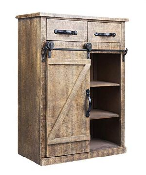 Antique Brown Wood Sliding Barn Door Cabinet With Two Drawers Three Shelves Vintage End Table Console Cabinet Storage Cabinet Farmhouse Rustic Wood Furniture 32 H 0 0 300x360