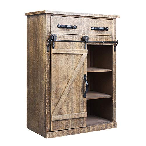 Antique Brown Wood Sliding Barn Door Cabinet With Two Drawers Three Shelves Vintage End Table Console Cabinet Storage Cabinet Farmhouse Rustic Wood Furniture 32 H 0 0