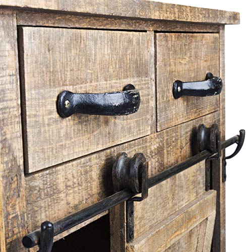 Antique Brown Wood Sliding Barn Door Cabinet With Two Drawers Three Shelves Vintage End Table Console Cabinet Storage Cabinet Farmhouse Rustic Wood Furniture 32 H 0 1