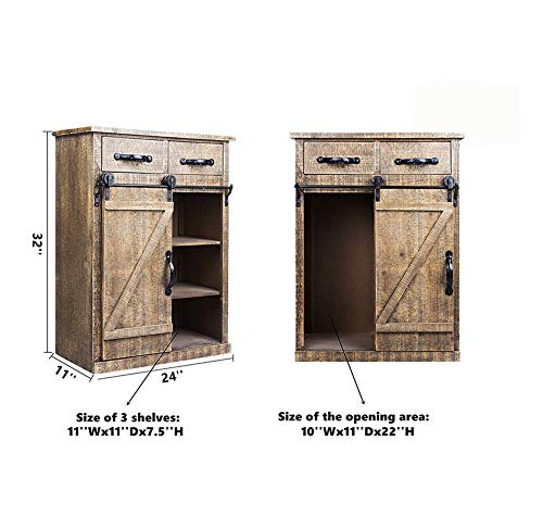 Antique Brown Wood Sliding Barn Door Cabinet With Two Drawers Three Shelves Vintage End Table Console Cabinet Storage Cabinet Farmhouse Rustic Wood Furniture 32 H 0 2