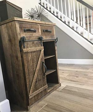 Antique Brown Wood Sliding Barn Door Cabinet With Two Drawers Three Shelves Vintage End Table Console Cabinet Storage Cabinet Farmhouse Rustic Wood Furniture 32 H 0 3 300x360