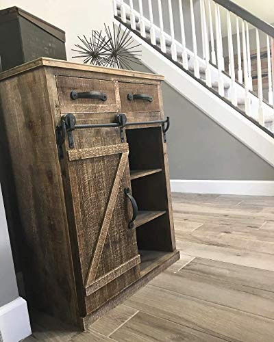 Antique Brown Wood Sliding Barn Door Cabinet With Two Drawers Three Shelves Vintage End Table Console Cabinet Storage Cabinet Farmhouse Rustic Wood Furniture 32 H 0 3