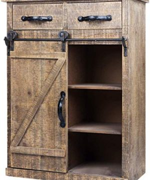 Antique Brown Wood Sliding Barn Door Cabinet With Two Drawers Three Shelves Vintage End Table Console Cabinet Storage Cabinet Farmhouse Rustic Wood Furniture 32 H 0 300x360