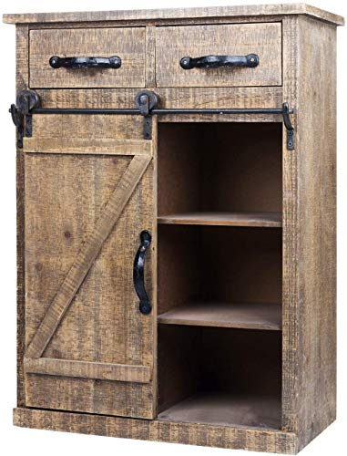 Antique Brown Wood Sliding Barn Door Cabinet With Two Drawers Three Shelves Vintage End Table Console Cabinet Storage Cabinet Farmhouse Rustic Wood Furniture 32 H 0