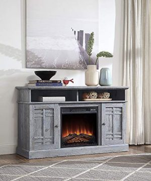 BELLEZE 48 TV Stand Console WMedia Shelves For TVs Up To 50 Wide With Fireplace And Remote Control Light Grey 0 300x360