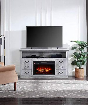 BELLEZE Light Grey Electric Fireplace 60 TV Stand Media Console Table With Remote Control For TVs Up To 65 0 300x360