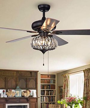 BIGBANBAN 52 Inch Crystal Ceiling Fans With Light Farmhouse Chandelier Ceiling Fans With Pull Chain Iron Cage Indoor Fan With 5 Reversible Wood BladeLiving Room DecorationsBronze Black 0 300x360