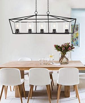 BONLICHT 5 Light Rectangle Farmhouse Chandelier Matte Black Finish With Cylinder Clear Glass Shade Metal Hanging Kitchen Island Pendant Lighting Ceiling Fixture For Dining Room Entryway Living Room 0 0 300x360
