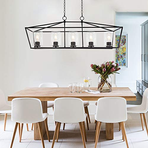 BONLICHT 5 Light Rectangle Farmhouse Chandelier Matte Black Finish With Cylinder Clear Glass Shade Metal Hanging Kitchen Island Pendant Lighting Ceiling Fixture For Dining Room Entryway Living Room 0 0