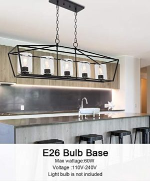 BONLICHT 5 Light Rectangle Farmhouse Chandelier Matte Black Finish With Cylinder Clear Glass Shade Metal Hanging Kitchen Island Pendant Lighting Ceiling Fixture For Dining Room Entryway Living Room 0 1 300x360