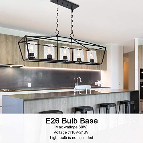BONLICHT 5 Light Rectangle Farmhouse Chandelier Matte Black Finish With Cylinder Clear Glass Shade Metal Hanging Kitchen Island Pendant Lighting Ceiling Fixture For Dining Room Entryway Living Room 0 1