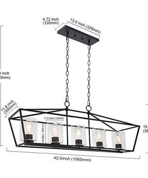 BONLICHT 5 Light Rectangle Farmhouse Chandelier Matte Black Finish With Cylinder Clear Glass Shade Metal Hanging Kitchen Island Pendant Lighting Ceiling Fixture For Dining Room Entryway Living Room 0 2 300x360
