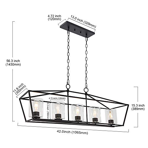 BONLICHT 5 Light Rectangle Farmhouse Chandelier Matte Black Finish With Cylinder Clear Glass Shade Metal Hanging Kitchen Island Pendant Lighting Ceiling Fixture For Dining Room Entryway Living Room 0 2
