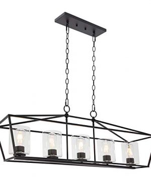 BONLICHT 5 Light Rectangle Farmhouse Chandelier Matte Black Finish With Cylinder Clear Glass Shade Metal Hanging Kitchen Island Pendant Lighting Ceiling Fixture For Dining Room Entryway Living Room 0 300x360