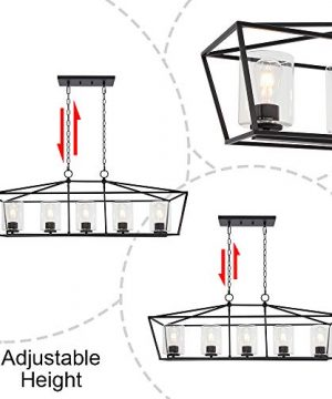 BONLICHT 5 Light Rectangle Farmhouse Chandelier Matte Black Finish With Cylinder Clear Glass Shade Metal Hanging Kitchen Island Pendant Lighting Ceiling Fixture For Dining Room Entryway Living Room 0 4 300x360