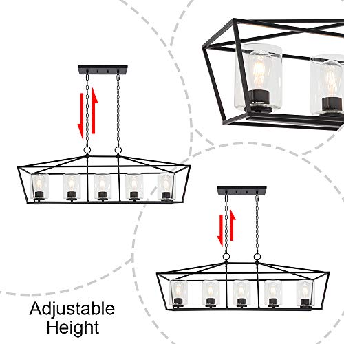 BONLICHT 5 Light Rectangle Farmhouse Chandelier Matte Black Finish With Cylinder Clear Glass Shade Metal Hanging Kitchen Island Pendant Lighting Ceiling Fixture For Dining Room Entryway Living Room 0 4