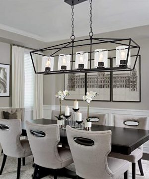 BONLICHT 5 Light Rectangle Farmhouse Chandelier Matte Black Finish With Cylinder Clear Glass Shade Metal Hanging Kitchen Island Pendant Lighting Ceiling Fixture For Dining Room Entryway Living Room 0 5 300x360