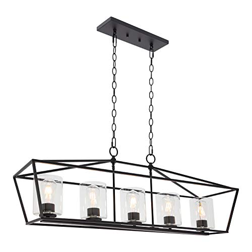 BONLICHT 5 Light Rectangle Farmhouse Chandelier Matte Black Finish With Cylinder Clear Glass Shade Metal Hanging Kitchen Island Pendant Lighting Ceiling Fixture For Dining Room Entryway Living Room 0