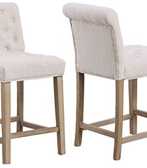 BTEXPERT Bar Stool Chair Wooden Linen Tufted Counter 24 Ivory Beige Fabric Set Of 2 0 300x342