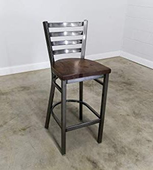 Bar Stool In Gun Metal Gray Metal Finish Ladder Back Metal Restaurant Grade 30 Inch High Barstool 0 300x333