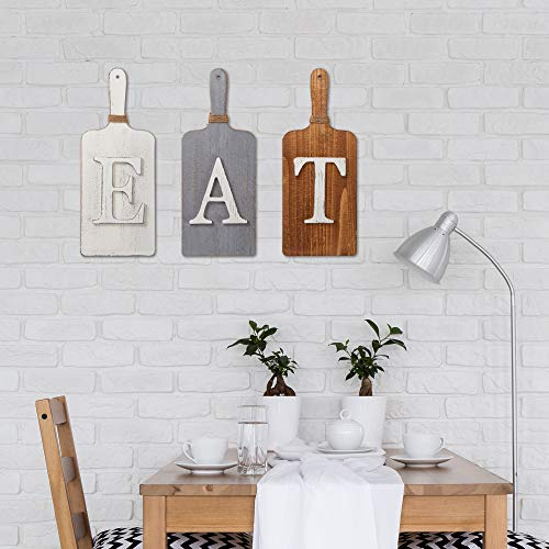 Barnyard Designs Cutting Board Eat Sign Rustic Hanging Wall Decor Primitive Country Farmhouse Home And Kitchen Decor Multicolor WhiteGreyBrown Set Of 3 6 X 15 Boards 0 0