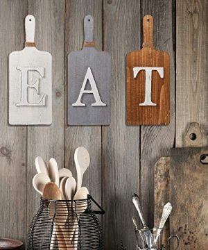 Barnyard Designs Cutting Board Eat Sign Rustic Hanging Wall Decor Primitive Country Farmhouse Home And Kitchen Decor Multicolor WhiteGreyBrown Set Of 3 6 X 15 Boards 0 1 300x360
