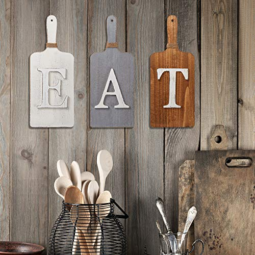 Barnyard Designs Cutting Board Eat Sign Rustic Hanging Wall Decor Primitive Country Farmhouse Home And Kitchen Decor Multicolor WhiteGreyBrown Set Of 3 6 X 15 Boards 0 1