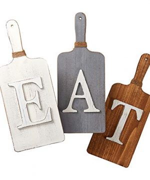 Barnyard Designs Cutting Board Eat Sign Rustic Hanging Wall Decor Primitive Country Farmhouse Home And Kitchen Decor Multicolor WhiteGreyBrown Set Of 3 6 X 15 Boards 0 2 300x360