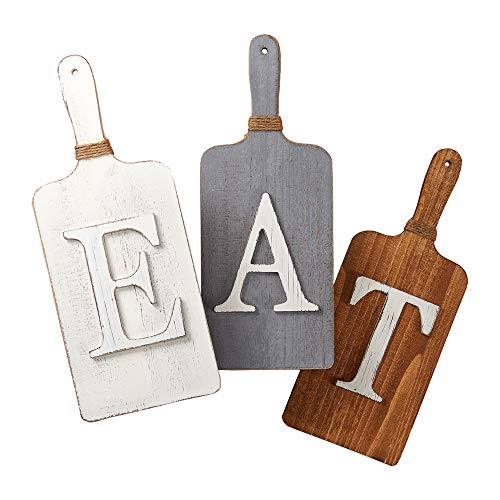 Barnyard Designs Cutting Board Eat Sign Rustic Hanging Wall Decor Primitive Country Farmhouse Home And Kitchen Decor Multicolor WhiteGreyBrown Set Of 3 6 X 15 Boards 0 2