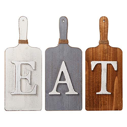 Barnyard Designs Cutting Board Eat Sign Rustic Hanging Wall Decor Primitive Country Farmhouse Home And Kitchen Decor Multicolor WhiteGreyBrown Set Of 3 6 X 15 Boards 0