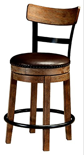 Barstool Swivel With Back Classic Style Furniture Counter Height Brown Kitchen Dining Skroutz 0