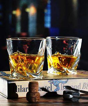 Bavel Whiskey Glasses 10 OZ Premium Shaped Scotch Glasses Set Of 4Glassware SetTumblers For Drinking Bourbon Whiskey Cognac Irish WhiskyVintage Elegant Whiskey Glass 10 OZ 0 1 300x360