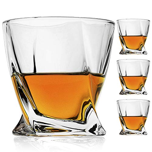 Bavel Whiskey Glasses 10 OZ Premium Shaped Scotch Glasses Set Of 4Glassware SetTumblers For Drinking Bourbon Whiskey Cognac Irish WhiskyVintage Elegant Whiskey Glass 10 OZ 0
