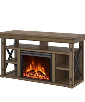 Beaumont Lane Wildwood Electric Fireplace Heater TV Stand Console Up To 60 In Rustic Gray 0 300x360