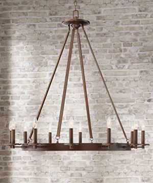 Belmore Oil Rubbed Bronze Large Wagon Wheel Chandelier 40 Wide Rustic Farmhouse 12 Light Fixture For Dining Room House Foyer Entryway Kitchen Bedroom Living Room High Ceilings Franklin Iron Works 0 300x360