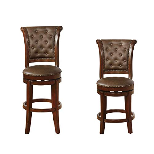 Benjara Swivel Wooden Bar Height Stool With Rolled Button Tufting Set Of 2 Brown 0 0