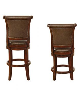 Benjara Swivel Wooden Bar Height Stool With Rolled Button Tufting Set Of 2 Brown 0 1 300x360