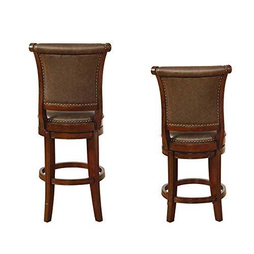 Benjara Swivel Wooden Bar Height Stool With Rolled Button Tufting Set Of 2 Brown 0 1