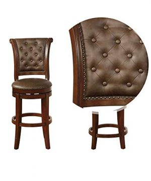 Benjara Swivel Wooden Bar Height Stool With Rolled Button Tufting Set Of 2 Brown 0 2 300x360