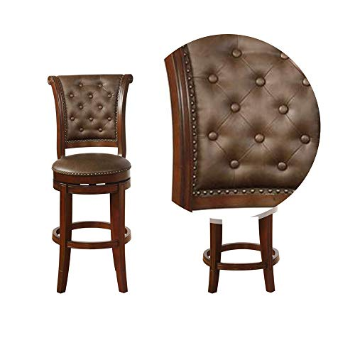 Benjara Swivel Wooden Bar Height Stool With Rolled Button Tufting Set Of 2 Brown 0 2