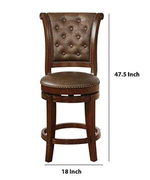 Benjara Swivel Wooden Bar Height Stool With Rolled Button Tufting Set Of 2 Brown 0 3 300x360