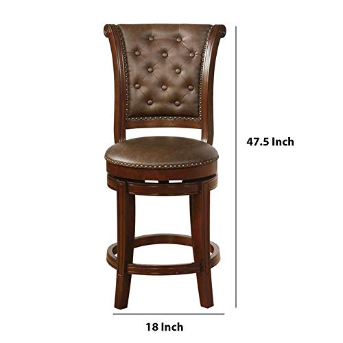 Benjara Swivel Wooden Bar Height Stool With Rolled Button Tufting Set Of 2 Brown 0 3
