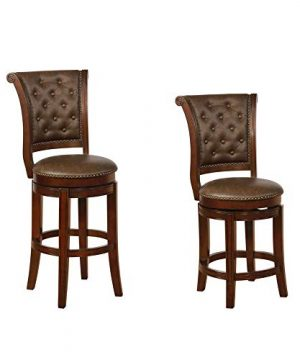 Benjara Swivel Wooden Bar Height Stool With Rolled Button Tufting Set Of 2 Brown 0 300x360