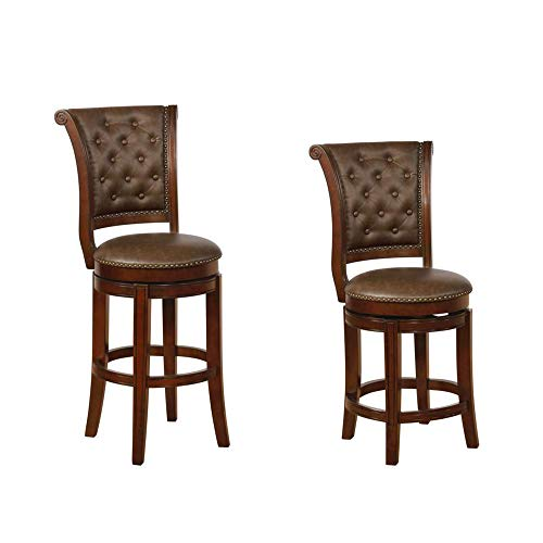 Benjara Swivel Wooden Bar Height Stool With Rolled Button Tufting Set Of 2 Brown 0