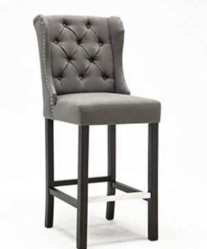 Best Quality Furniture Upholstered Gray Linen Look Fabric Barstool Set Of Two 0 300x360